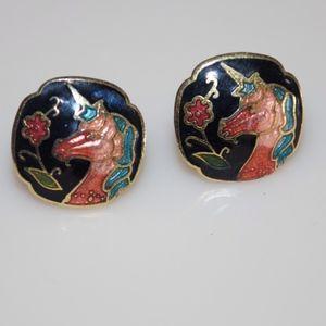 """Unicorn Cloisonne Earrings 1/2"""""""